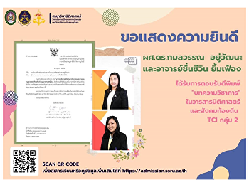 Congratulations to Asst. Prof. Dr. Kamonwan Yuwattana and Ajarn Chuencheewin Yimfueng received acceptance for publication of TCI Group 2 academic articles.